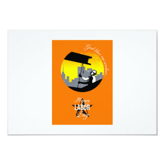 Steel Worker Happy Labor Day Greeting Card Poster 9 Cm X 13 Cm Invitation Card
