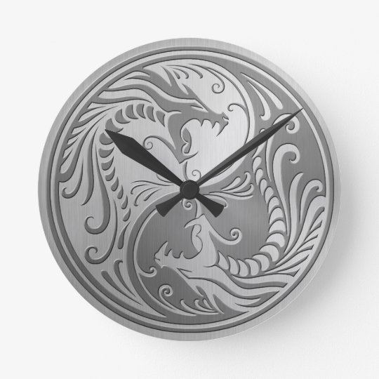 Steel Yin Yang Dragons Round Clock