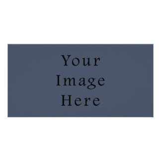 Steely Dark Blue Color Trend Blank Template Personalized Photo Card