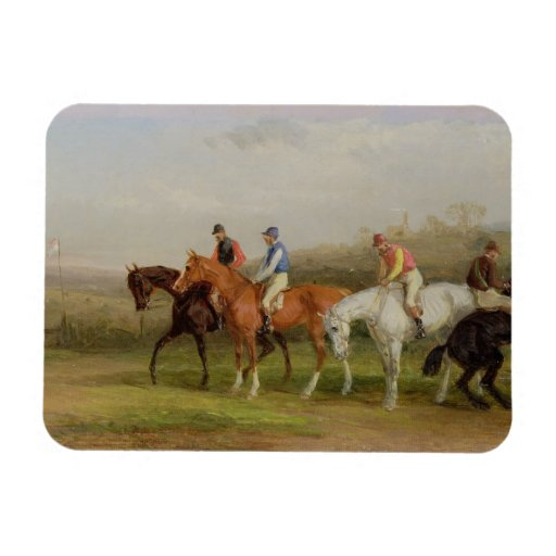 Steeplechasing: At the Start (oil on canvas) Magnet