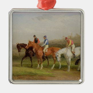 Steeplechasing: At the Start (oil on canvas) Silver-Colored Square Decoration