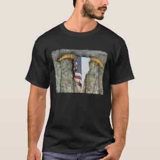 Steer Skull with American Flag T-Shirt