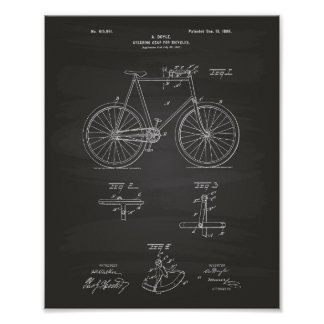 Steering Gear Bicycles 1898 Patent Art Chalkboard Poster