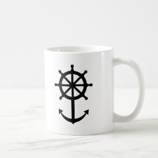 Steering wheel anchor basic white mug