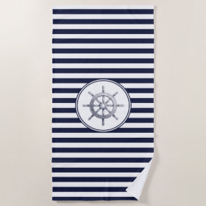 Steering Wheel and Blue Striped Beach Towel