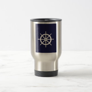 Steering wheel on navy blue background. mug