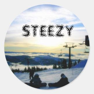 STEEZY SNOWBOARDING ROUND STICKER