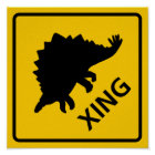 Stegosaur Crossing Highway Sign Dinosaur