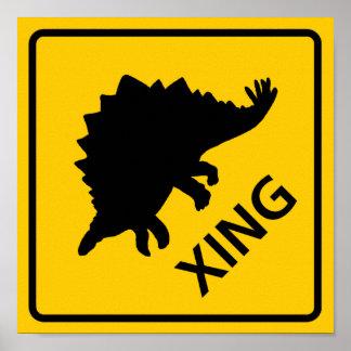 Stegosaur Crossing Highway Sign Dinosaur Poster