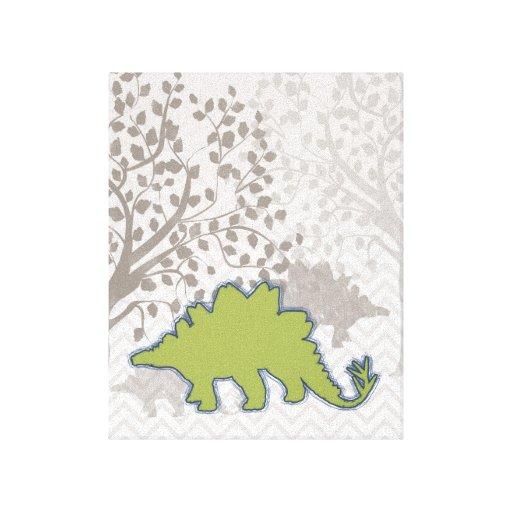 Stegosaur on Mono Zigzag Chevron Gallery Wrap Canvas