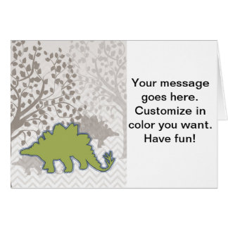 Stegosaur on Mono Zigzag Chevron Greeting Card