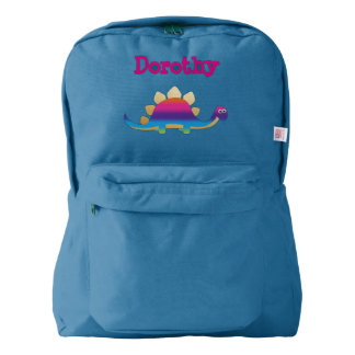 Stegosaurus below a child's name backpack