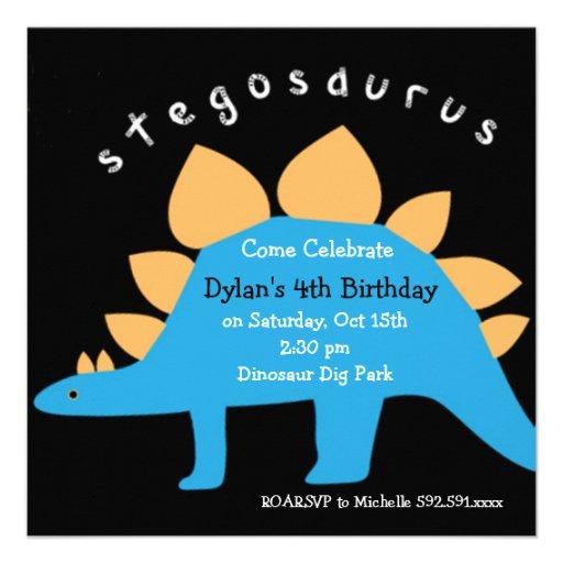Stegosaurus Dinosaur Birthday Party Invitations