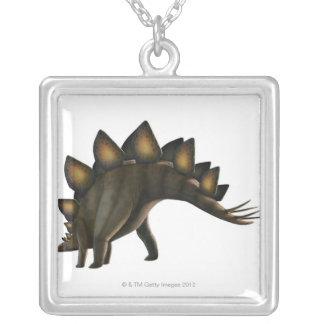 Stegosaurus dinosaur, computer artwork. silver plated necklace