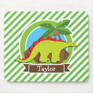 Stegosaurus Dinosaur, Dino; Green & White Stripes Mouse Pad