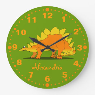Stegosaurus Dinosaur Personalized Clock Green
