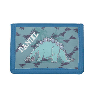 Stegosaurus dinosaur your name blue wallet