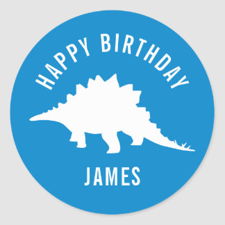 Stegosaurus Happy Birthday Party Sticker