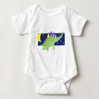 Stegosaurus in the night with moon and stars baby bodysuit