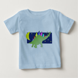 Stegosaurus in the night with moon and stars baby T-Shirt