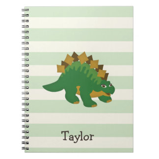 Stegosaurus on Pastel Green Stripes Notebooks
