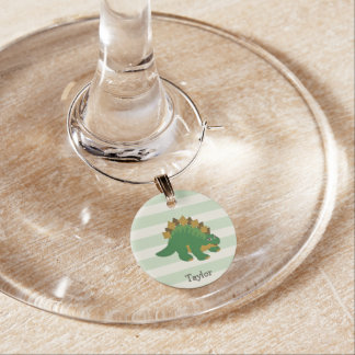 Stegosaurus on Pastel Green Stripes Wine Charm