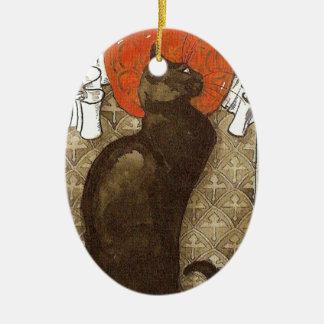 Steinlein's Cat - Art Nouveau Ceramic Oval Decoration