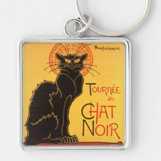 Steinlen: Chat Noir Silver-Colored Square Key Ring