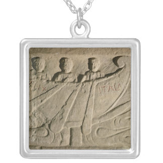 Stela depicting a rowing boat 'Felix Itala' Silver Plated Necklace