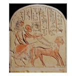 Stela depicting a scribe driving a chariot poster