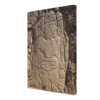 Stela depicting a warrior holding a club gallery wrapped canvas
