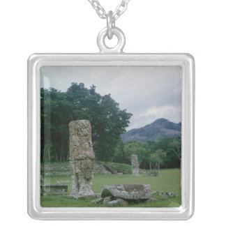 Stele in forecourt of Central Plaza Silver Plated Necklace