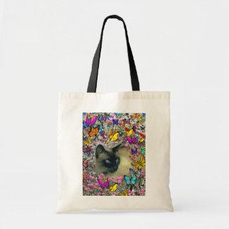 Stella in Butterflies Chocolate Point Siamese Cat Bag