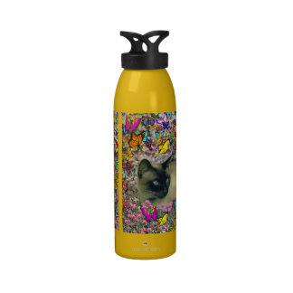 Stella in Butterflies Chocolate Point Siamese Cat Reusable Water Bottle