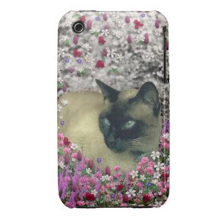 Stella in Flowers I – Chocolate Cream Siamese Cat iPhone 3 Case