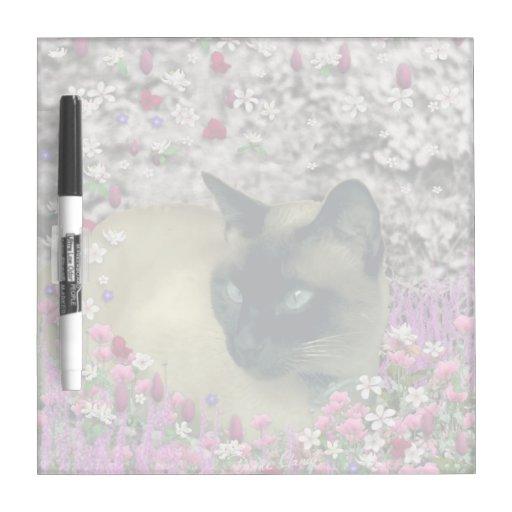 Stella in Flowers I, Chocolate & Cream Siamese Cat Dry-Erase Whiteboard