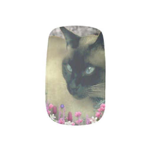 Stella in Flowers I, Chocolate & Cream Siamese Cat Minx ® Nail Art