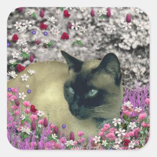 Stella in Flowers I – Chocolate Cream Siamese Cat Square Sticker