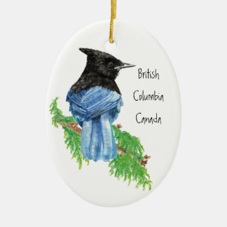 Stellar Jay B.C. British Columbian, Canada Ceramic Oval Decoration