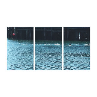 Stellar Sea Lion Three Panel Canvas Print