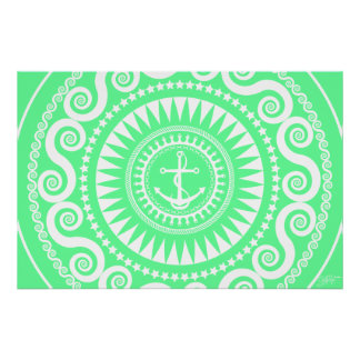 StellaRoot Anchor Down Girly Preppy Green Posters