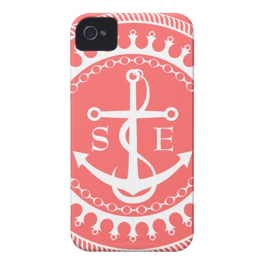 StellaRoot Anchor Down Pink Preppy Personalise iPhone 4 Cases