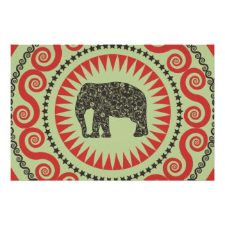 StellaRoot Damask Elephant Vinatge Preppy moss Print