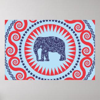 StellaRoot Damask Elephant Vinatge Preppy Poster