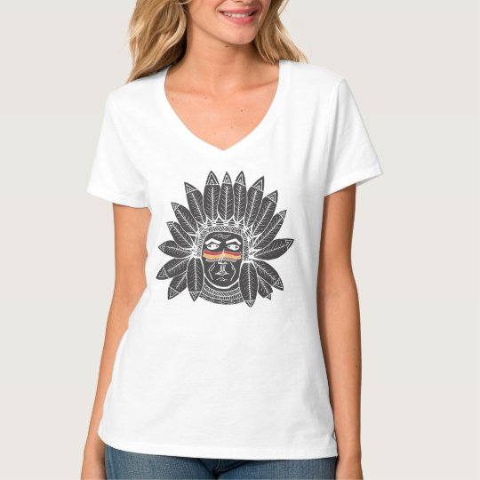 StellaRoot Drawn Vintage Chief Indian Native Earth T-Shirt