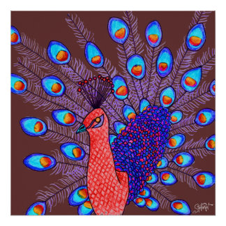 StellaRoot Modern Day Peacock Hand Drawn Poster