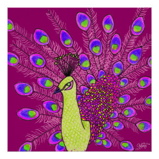 StellaRoot Modern Day Purple Peacock Hand Drawn Poster