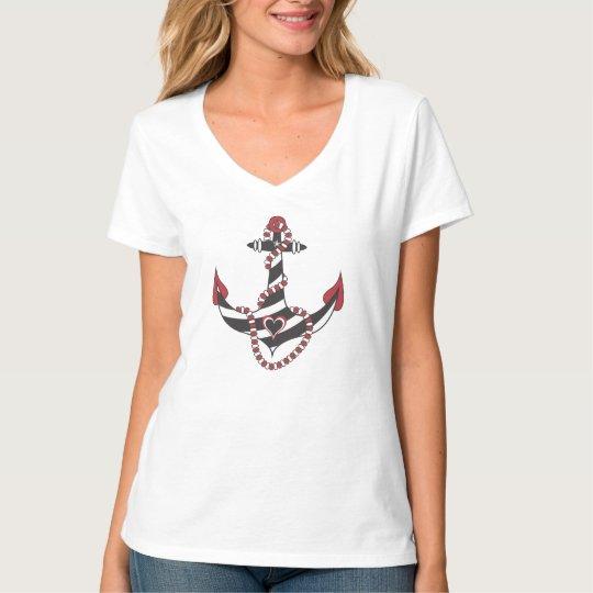 StellaRoot Nautical Anchor of Hearts Rope girly T-Shirt