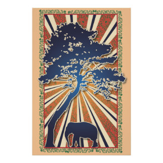 StellaRoot Safari Tree Peace Elephant Sun Raise Poster