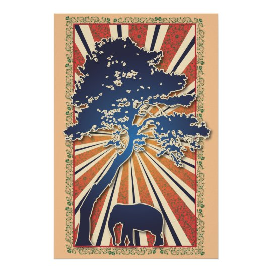 StellaRoot Safari Tree Peace Elephant Sun Raise Poster